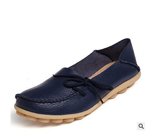 Hee Grand Women Leather Lace-Up Loafer Flats Pumps Navy 9 B(M) US FLcYnYMCec