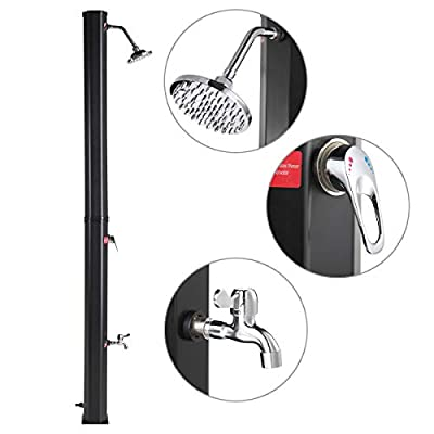 JAXPETY Solar Heated Shower w/Shower Head and Foot Shower 9.3 Gallon Dual-Purpose Outdoor Poolside Beach Pool Spa Backyard Farmyard Shower, Black