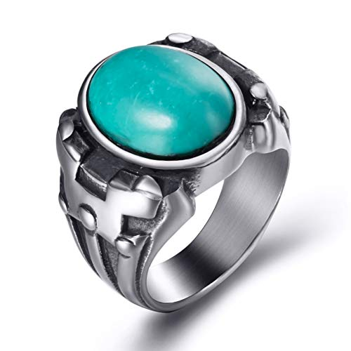 Elfasio Men Synthetic Oval Turquoise Stainless Steel Ring Vintage Gothic Jewelry Size 12