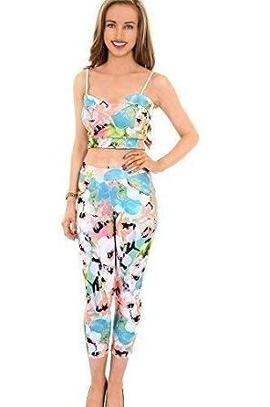 Women/'s 3//4 Party Leggings Ladies Neon Floral Flower Print Strappy Crop Top Set