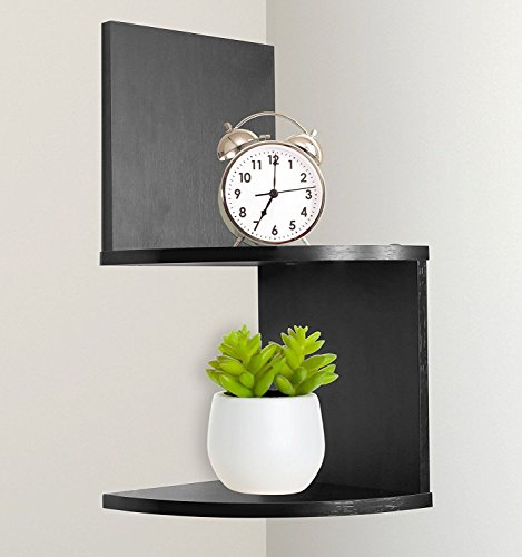 New Greenco Modern Design 2 Tier Corner Floating Shelves, Espresso. (Oak Open Single Light Bookcase)