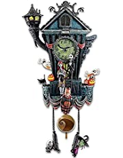 Brteyes The Nightmare Before Christmas Cuckoo Clock - Cuckoo Clock Traditional Black Forest Wood House Clock Handcrafted, Halloween Wall Clock Resin Crafts Statue Home Decor