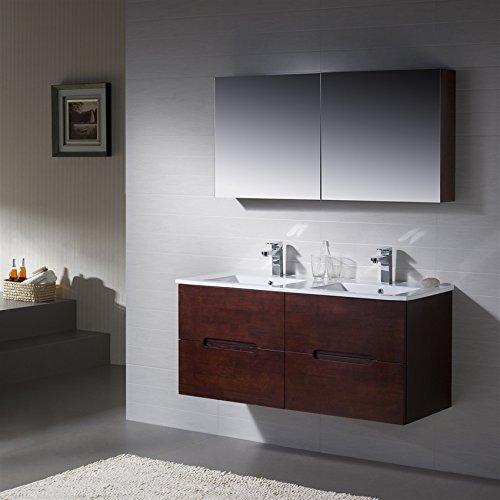 Wall Mount Bathroom Vanity Elton 48 Double Espresso Sink with Porcelain Top by INOLAV
