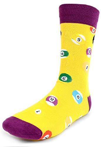 ff3f5b527255 Men's Fun Crew Socks, Sock Size 10-13/Shoe Size 6-12.5, Awesome NEW Styles,  Great Holiday/Birthday Gift (Billiard NEW Yellow)