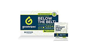 Goodwipes Flushable Men's Cleansing Butt Wipes with Aloe, Vitamin-E for Travel, Cedar Scented, Hypoallergenic, 100% Biodegradable, 1 Pack, 30 Individually Wrapped Wipes