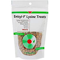 Enisyl-F Cat Treats with L-Lysine Immunity Health Booster for Cats and Kittens. 6.35oz Bag, Chicken Liver Flavor