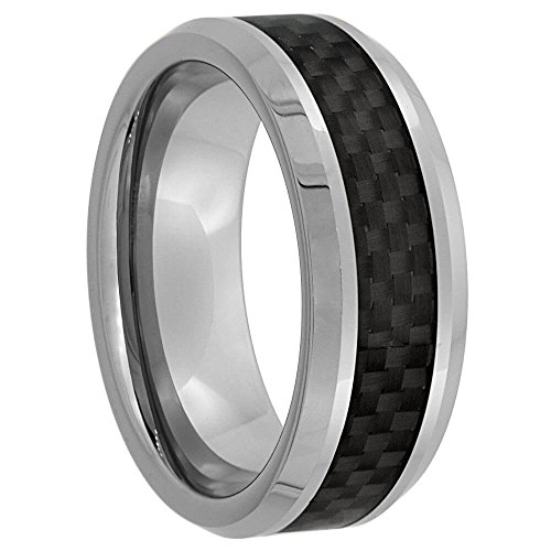 Revoni - Bague Alliance - Tungstène 8 mm Noir Fibre De Carbone