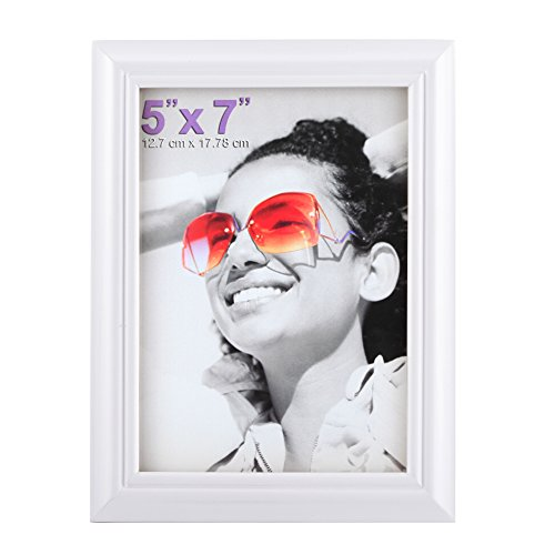 RPJC 5x7 Picture Frames Made of Solid Wood High Definition Glass for Table Top Display and Wall mounting Photo Frame White