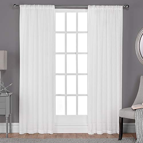 Exclusive Home Curtains Belgian Textured Linen Look Jacquard Sheer Window Curtain Panel Pair with Rod Pocket, 108