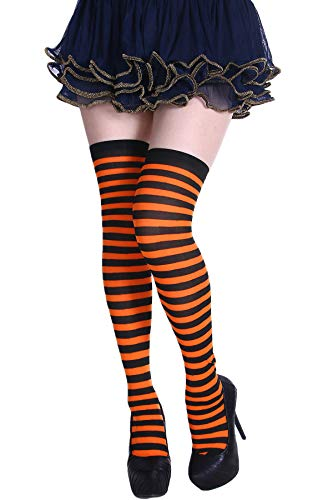 (Womens Thigh High Socks Over the Knee Socks Spandex Striped Stockings Tube)