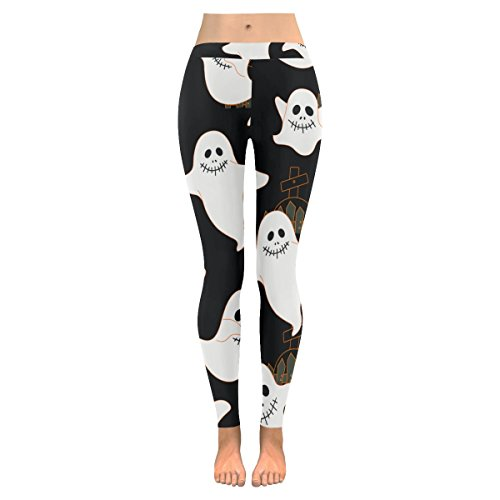InterestPrint Halloween Cute Ghost Custom Stretchy Leggings Skinny Pants For Yoya Running Pilates Gym L