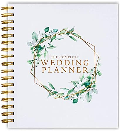 [New] Wedding Planner Green Floral – UK Bridal Planning Book Journal & Organising Diary, Engagement Gift, Countdown Calendar