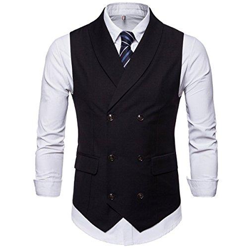 Cottory Men's Pure Color Business Suit Vest Slim Fit Waistcoat Shawl Lapel Dress Vest Black X-Large ()
