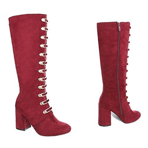 68cc9a12c8117b ... Ital-Design High Heel Stiefel Damenschuhe High Heel Stiefel Pump  Moderne Reißverschluss Stiefel Weinrot