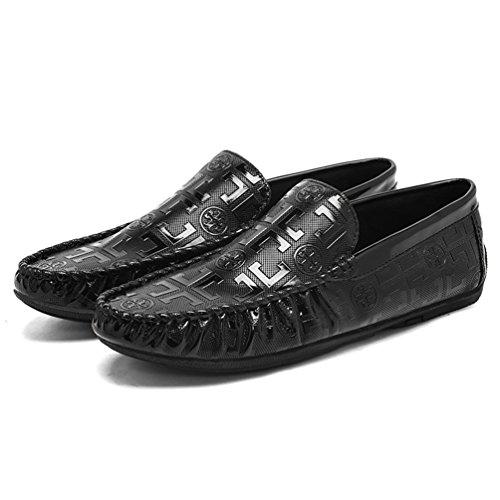 Anguang Hommes Élégant PU Cuir Slip On Chaussures Business Mocassins Bateau Loafers Noir dmqel