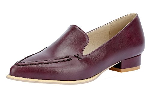AmoonyFashion Womens Pull-On Low-Heels PU Solid Pointed Closed Toe Pumps-Shoes Claret 6ImYJpHWC