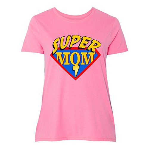 Superhero T Shirts Plus Size (inktastic Superhero Mom Women's Plus Size T-Shirt 4 (26/28) Pink)