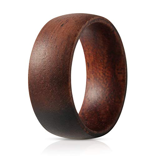 Design Mens Ring - SOLEED Wooden Wedding Band with Inner Rosewood Layer for Strength and Outer Ebony Layer - Designed for Men and Women, 8mm Natural Wood Ring, Comfort Fit Design, Domed Top - 10