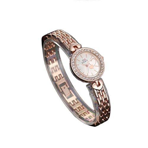 XILALU Beautiful Quartz Casual Flower RoseGold Bracelet Wrist Watch Women Girl Gift ()