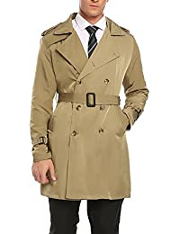 Coofandy Men's Long Trench Coat Double Breasted Buttons Jacket Overcoat With Belt