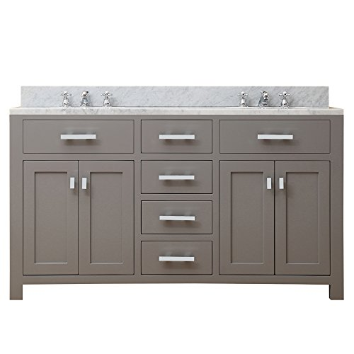 Fixture Cashmere (Water Creation Madison 60G Double Sink Bathroom Vanity from the Madison Collection, 60