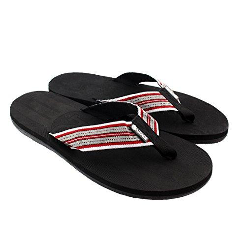 Beachcomber Sandal - Kaiback Men's Beachcomber Flip Flop Beach Sandal (9/10, Black/Red)