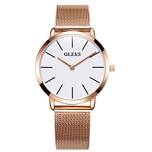 Rose Gold Ultra Thin Watches for Women, Work Office Dress Wristwatches with Date Waterproof White Dial Mesh Steel Milanese Loop Band Watches, Analog Quartz Clock Time Watch Valentines Gift for Her