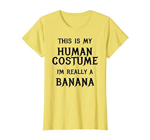 Womens Funny Banana Costume Halloween Shirt Easy Gift Idea Small Lemon