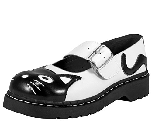 T.U.K. Shoes T2006 Womens Cat Mary Janes, Classic Kitty Mary Jane - US: Women 10 Black/White (Boots Anarchic)