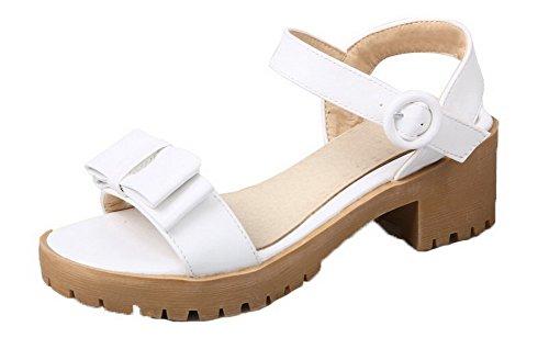 Unie Talon Couleur Blanc Sandales Ouverture AalarDom Femme Correct à Boucle d'orteil Xffw80