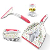 Mastertop 4Pcs Mini Dustpan and Brush Set with Dish Brush and Window Squeegee for Floor Car Dust Cleaning Set