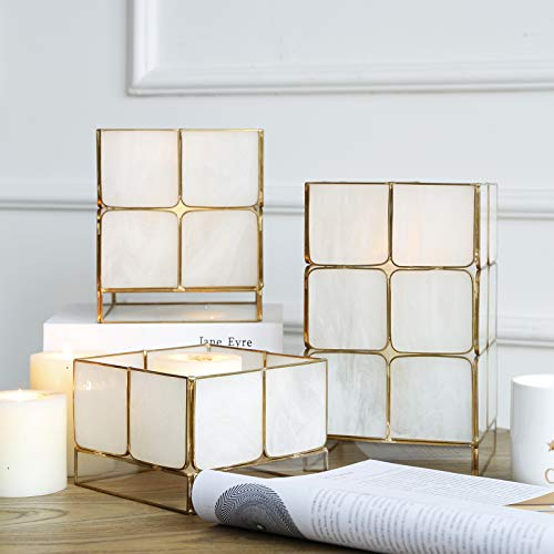 Cyl Home Candle Lanterns Tiffany Stained Bubbled Glass Brass Frame Hanging Hurricane Tea Light Holder Lamp Cube Centerpiece Accent Gift Wedding Housewarming Tea Party, White, 3.9'' H x 5.9'' D (Brass For Lanterns Candles)