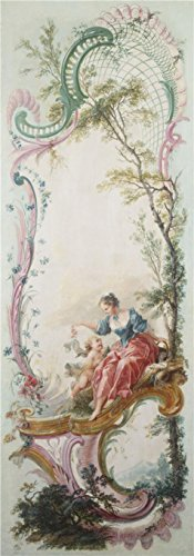 [Perfect Effect Canvas ,the Beautiful Art Decorative Prints On Canvas Of Oil Painting 'Jacques De LaJoue (attributed To) - Seven Decorative Panels Mounted In A Screen - Girl With Cupid, C. 1730-40', 16x46 Inch / 41x116 Cm Is Best For Bar Gallery Art And Home Decoration And] (C Viper Costumes)