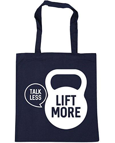 HippoWarehouse Talk less lift more Tote Compras Bolsa de playa 42cm x38cm, 10litros azul marino