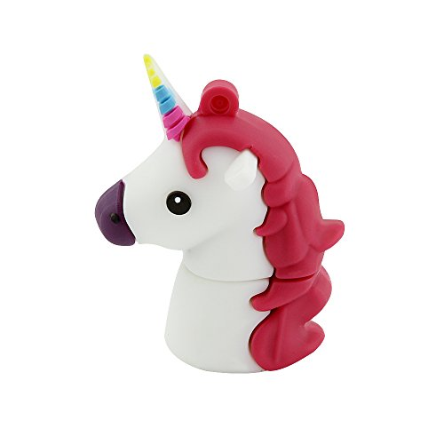CHUYI Novelty Unicorn Shape Design 32GB USB 2.0 Flash Drive Cute Memory Stick Horse Thumb Drive Data Storage Pendrive Cartoon Jump Drive Gift (White)