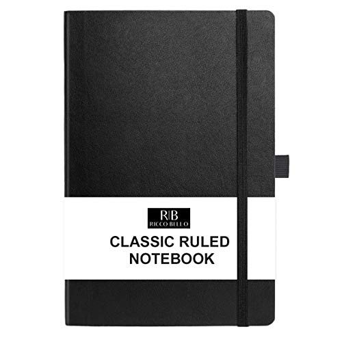 RICCO BELLO Classic College Ruled Hardcover Journal Notebook, Elastic Band Closure, Pen Holder, Vegan Leather, Inner Pocket, 5.7 x 8.4 inches (Black)