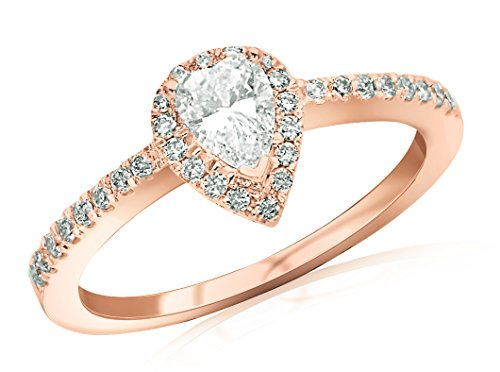 Near 1/2 Carat Halo Style Diamond Engagement Ring Pear Cut Shape (F-G Color SI1-SI2 Clarity) (Si1 Pear Solitaire Diamond)