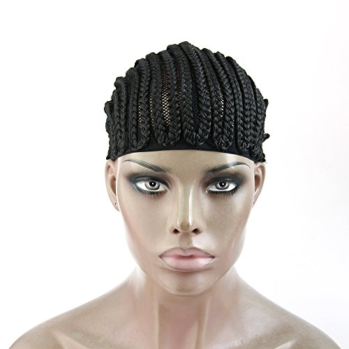 [CiCi Collection Cornrows Cap For Easier Sew In Braided Wig Caps Crotchet Black Color Spider Braiding] (Cornrow Wigs)