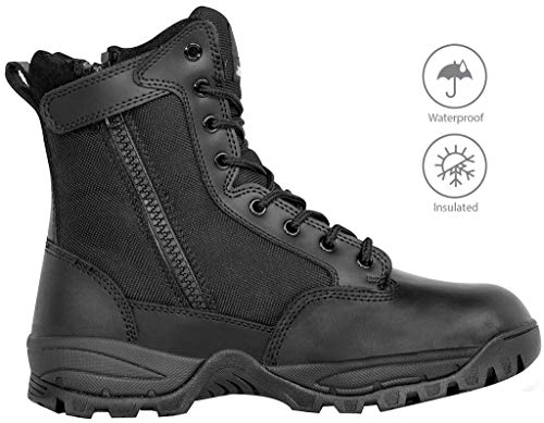 Maelstrom Men's TAC Force Military Tactical Work Boots with Zipper, Style # T5180Z WP in, Black, 8'', Waterproof, Insulated, Size 12M