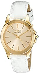 Invicta Women's 15149 Angel 18k Yellow Gold Ion-Plated Stainless Steel Watch with White Leather Band