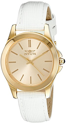 Invicta Women's 15149 Angel 18k Yellow Gold Ion-Plated Stainless Steel Watch with White Leather - White Wrist Watch 18k