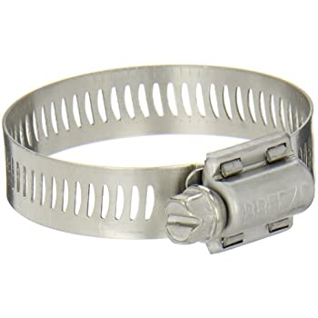 "Breeze Power-Seal Stainless Steel Hose Clamp, Worm-Drive, SAE Size 28, 1-5/16"" to 2-1/4"" Diameter Range, 1/2"" Bandwidth (Pack of 10)"