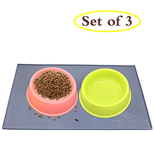 Citzzonly 2 Dog Feeder Bowl with Silicone Mat No Spill Non-Skid Water Food Dish for Dogs Puppies Cats Pets Feeding…