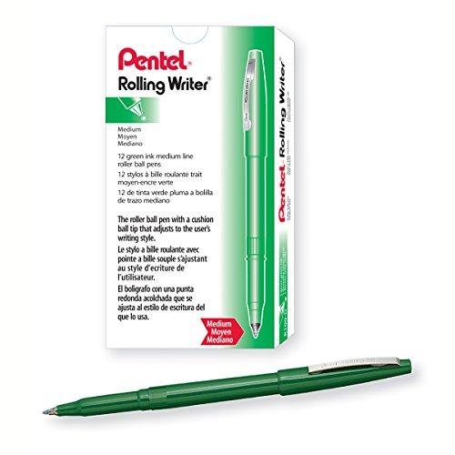 Pentel Rolling Writer Pen, 0.8mm Cushion Ball Tip, Green Ink, Box of 12 (R100-D)