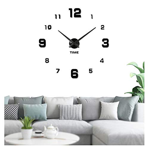 Modern Frameless DIY Wall Clock Large 3D Wall Watch Non Ticking for Living Room Bedroom Kitchen (silver-005) (2-Year Warranty)