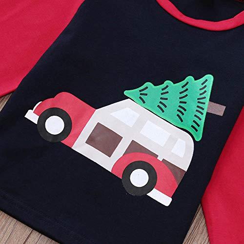 Fille De Imprimé Tailleur Cadeau Voitures Tops Arbres Accessoires Longues Angelof Hiver Vêtements Christmas Noël Deguisement Anniversaire Rouge Manches Costume Enfants 6zq5wxZI