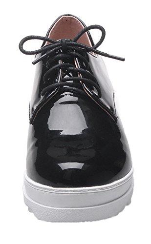 VogueZone009 Women's PU Solid Lace-up Round-Toe Kitten-Heels Pumps-Shoes Black 3fSu9Hc4S1