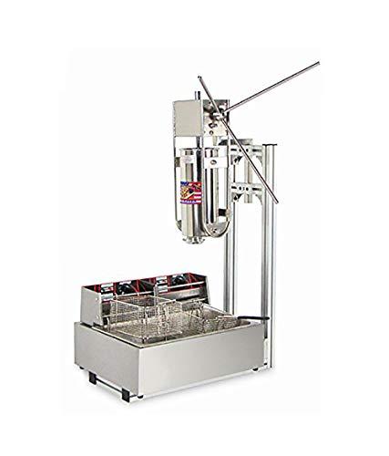 mxbaoheng 5L comercial español Churros Panificadora Latina frutas máquina capacidad comercial Deluxe incluido de acero inoxidable 12L freidora & 5 churro ...