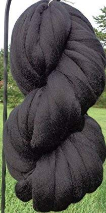 Black Noir Wool Top Roving Fiber Spinning, Felting Crafts USA (1lb)