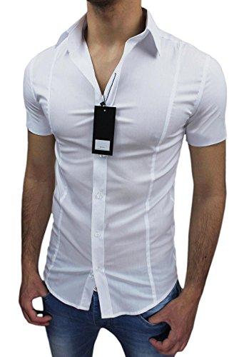 Camicia uomo Slim fit bianca aderente elasticizzata manica corta casual